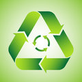 Recycle symbol on green background Stock Images