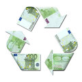Recycle symbol made with euro banknotes d illustration Stock Image