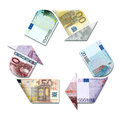 Recycle symbol made with euro banknotes d illustration Royalty Free Stock Images