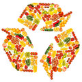 Recycle symbol made from various fruits and vegetables Royalty Free Stock Images