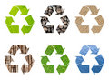 Recycle symbol from natural texture Royalty Free Stock Image