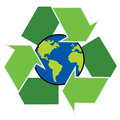 Recycle symbol with planet earth isolated on white background Royalty Free Stock Photos