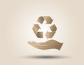 Recycle symbol or sign of conservation vector paper cut style Royalty Free Stock Photo