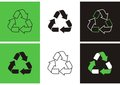 Recycle symbols set of different variants of green black and white Royalty Free Stock Image
