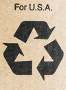 Recycle for usa sign isolated on cardboard with the text above Stock Photos