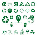 Recycle Waste Symbol Green Arrows Logo Set Web Icon Collection Royalty Free Stock Photo
