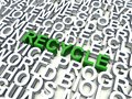 Recycle word in green salient among other keywords concept in white d render illustration Stock Photography