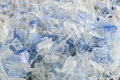 Recycled plastic polymers out of pet water bottle close up view and crushed plastics bottles Royalty Free Stock Image