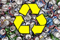 Recycling aluminum drinks cans recycle symbol and a large number of for Stock Photos