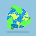 Recycling arrow symbol and planet Earth Royalty Free Stock Photo