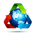 Recycling arrows and earth Royalty Free Stock Photo