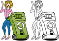 Recycling Bin Woman Set Royalty Free Stock Images