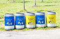 Recycling bins for collection of recycle materials Royalty Free Stock Image