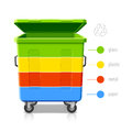 Recycling bins colors infographics