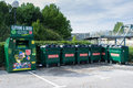 Recycling bins in the corner of a car park in bristol united kingdom Royalty Free Stock Images