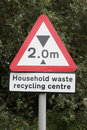 Recycling Centre Sign with Height Restriction Royalty Free Stock Image