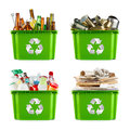 Recycling concept a selection of garbage for segregated metal plastic paper and glass Royalty Free Stock Photos