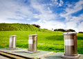 Recycling containers in a park in the city of gijon in asturias Royalty Free Stock Photos