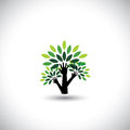 Recycling eco tree hand with leaves vector helping nature concept the graphic also represents nature conservation preserving Stock Photography