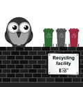 Recycling facility monochrome comical sign on brick wall isolated on white background Stock Photography