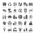 Recycling flat glyph icons. Pollution, recycle plant. Garbage sorting types - paper, glass, plastic, metal, flammable