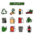 Recycling flat icons set Royalty Free Stock Photo