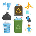 Recycling garbage elements trash bags tires management industry utilize concept and waste ecology can bottle recycling