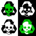 Recycling icon collection with skulls Stock Image