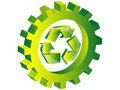 Recycling icon inside of gear Royalty Free Stock Photography
