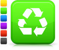 Recycling icon on square internet button Royalty Free Stock Photos