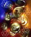 Recycling metal drinks cans recycle symbols and Stock Photos