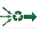 Recycling path concept illustration showing three damaged arrows pointing towards the symbol and coming out as a strong new arrow Stock Images