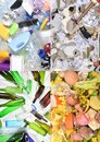 Recycling plastic,papper,glass and organic Royalty Free Stock Photo