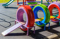 Recycling playground made forn rubber tire Royalty Free Stock Photos