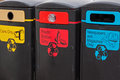 Recycling receptacles rubbish bins for the collection of materials for uk Stock Photography