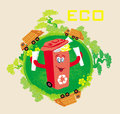 Recycling red bin with papers ecology concept landscape and garbage Royalty Free Stock Image