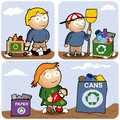 Recycling set vector illustration kids are gathering different types of garbage Stock Photo