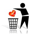 Recycling sign and broken heart conceptual icon with Stock Photo