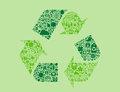 Recycling symbol arrows green with smaller environmental icons within it Royalty Free Stock Photos
