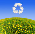 Recycling symbol from clouds dandelion field with Royalty Free Stock Photo
