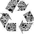 Recycling symbol the composed from icons of various things flowers objects and icons Royalty Free Stock Photography