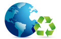 Recycling symbol with an earth globe Royalty Free Stock Photo