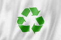 Recycling symbol flag three dimensional render satin texture Stock Photo