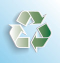 Recycling symbol sticker peeling away a three dimensional that is Stock Image