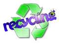 Recycling verbal graphic illustration of the word with logo on the background Royalty Free Stock Images