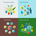 Recycling and waste reduction icons set with materials sorting flat isolated vector illustration Royalty Free Stock Photos
