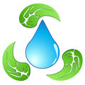Recycling water drop with leaf Royalty Free Stock Photo