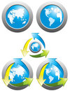 Recycling and world map Royalty Free Stock Photos