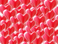 Red  3d hearts background on white. Stock Photo