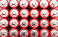 Red aa batteries background of Stock Photos